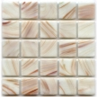 cream colored glass tile with copper swirls