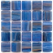 blue to light cobalt blue glass tile with hints of copper