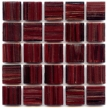 dark red glass tile with dark swirls of deep red tones