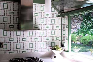 Wall tile - Cartglass Classic custom repeating pattern using uncut tile