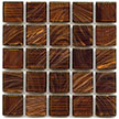 Dark brown mosaic tile with copper tones from Hakatai Aventurine glass tile series