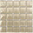 Image of a light beige glossy glass tile solid color sheet