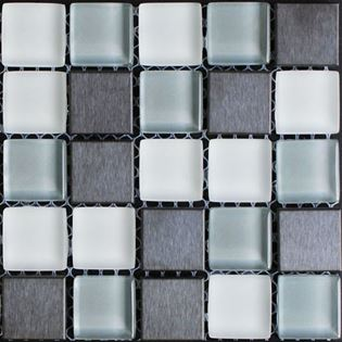 A blue grey glass tile and metal tile mixed blend