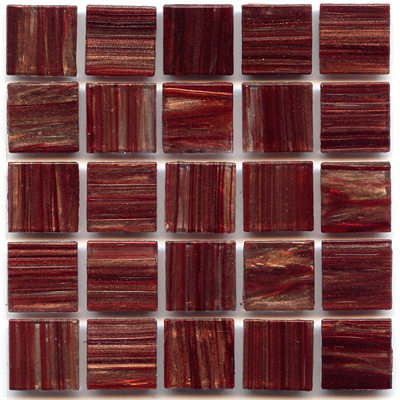 Hakatai Aventurine Bordeaux glass tile with rich red color tones and gold swirls