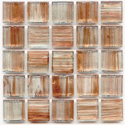 Amber colored glass tile from Hakatai Aventurine series highlighted with copper swirls