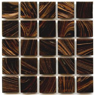 Rich dark brown tiles with copper swirls creates hakatai aventurine glass tile called Henna