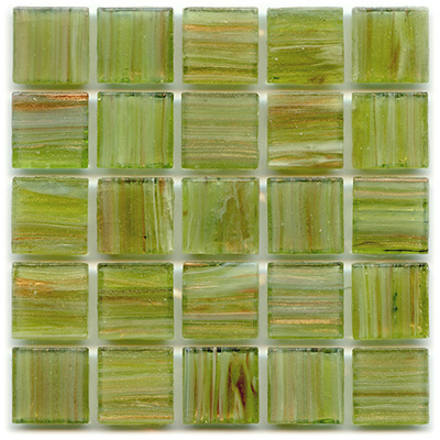 Light olive green mosaic tile with light yellow hints of color