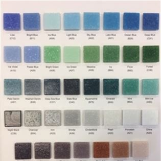"Classic 3/4"" Sample Board glass tile color chart for Hakatai Classic Series"