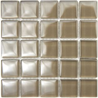 Taupe is a neutral brown mesh backed glossy glass tile perfect for kitchen walls