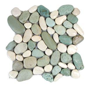 Glazed Green White River Stone Tile From Hakatai