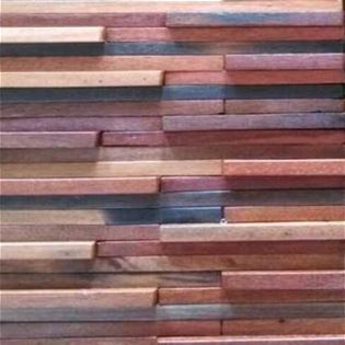 Ballast is a recycled boat wood tile of mixed size on mesh backing