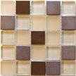 Picture of beige, tan, and neutral glass tiles with copper tiles