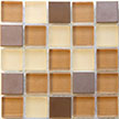 Picture of a neutral glass and metal tile blend for kitchen backsplash